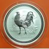 AUSTRALIA 2 DOLARES 2005 AÑO DEL GALLO 1ª SERIE LUNAR MONEDA DE PLATA $2 Dollar silver 2 ONZAS OZ @RARA@ Rooster Hahns