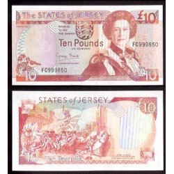 JERSEY £10 LIBRAS 1993 REINA ISABEL PICK 2 - 2 POUNDS BATALLA DE JERSEY - SIN CIRCULAR BANKNOTE