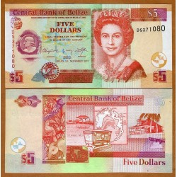 BELIZE 5 DOLARES 2011 CAYO DE SAN JORGE y ATAUD CEREMONIAL REINA ISABEL II Pick 67E BILLETE SC Caribe $5 Dollars UNC BANKNOTE