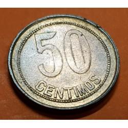 @ORLA DE PUNTOS CUADRADA@ ESPAÑA 50 CENTIMOS 1937 * -/6 DAMA MONEDA DE COBRE República Española ERROR VARIANTE 2