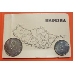 @ESTUCHE OFICIAL@ MADEIRA 25 ESCUDOS 1981 + 100 ESCUDOS 1981 ZARCO AUTONOMIA REGIONAL KM.4 y KM.5 NICKEL SC/SC-