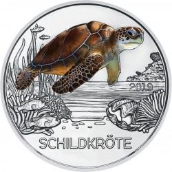 @RARA@ AUSTRIA 3 EUROS 2019 TORTUGA MONEDA DE NICKEL A COLORES SC @SE ILUMINA EN LA NOCHE@ Österreich 3€ Coin TURTLE