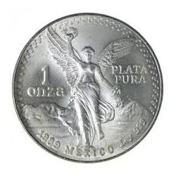 MEXICO 1 ONZA 1989 ANGEL LIBERTAD MONEDA DE PLATA PURA 999 SC Mejico Silver coin OZ OUNCE @RARA@