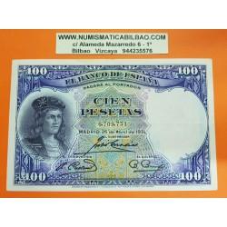 ESPAÑA 100 PESETAS 1931 GONZALO FERNANDEZ DE CORDOBA Sin Serie 6709731 Pick 83 BILLETE MBC+ Spain banknote