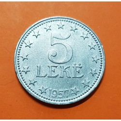 ALBANIA 5 LEKE 1957 ESCUDO DE LA REPUBLICA SOCIALISTA KM.38 MONEDA DE ZINC SC-