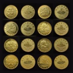 8 monedas x CHINA 1 YUAN 2008 OLIMPIADA DE BEIJING SC SERIE COMPLETA LATON PROOFLIKE Brass coins
