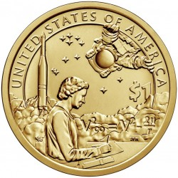ESTADOS UNIDOS 1 DOLAR 2019 P INDIA SACAGAWEA, ASTRONAUTA y COHETE SC MONEDA DE LATON USA 1 Dollar coin