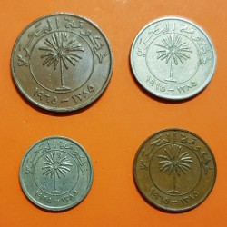 4 monedas x BAHRAIN 5+10+25+50 FILS 1965 PALMERA y VALOR KM.2+3+4+5 NICKEL BRONCE EBC @ESCASA@ Government Of Bahrain FIAT PANIS