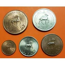 5 monedas x QATAR y DUBAI 1+5+10+25+50 DIRHEM 1977 GACELA KM.1+2+3+4+5 @MUY RARAS@ SC
