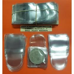50 BOLSAS INDIVIDUALES DE PLASTICO PARA MONEDAS 48 x 48 Milímetros LIBRE DE PVC Made in Spain