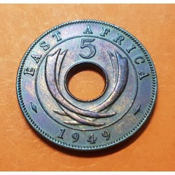 AFRICA DEL ESTE 5 CENTIMOS 1949 CUERNOS DE ELEFANTE REY JORGE VI KM.25 MONEDA DE BRONCE MBC+ British East Africa 5 Cent