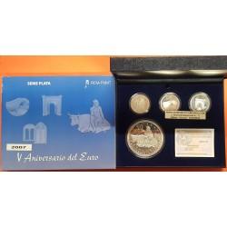3 monedas x 10 EUROS 2007 + 50 EUROS 2007 Cincuentin V ANIVERSARIO DEL EURO PORTICO PUENTE VENTANA PLATA ESTUCHES FNMT España