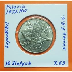 POLONIA 10 ZLOTY 1971 FAO WORLD FOOD DAY PEZ RODABALLO y ESPIGAS KM.63 MONEDA DE NICKEL SC Poland 10 Zlotych