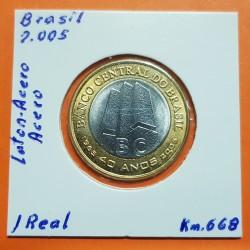 . 1 REAL 2015 BRASIL 50 ANIVERSARIO DEL BANCO CENTRAL SC Bimetal