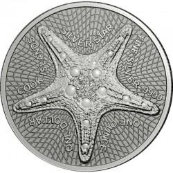 @1 ONZA 2019@ ISLAS COOK 1 DOLAR 2019 ESTRELLA DE MAR MONEDA DE PLATA PURA SC 1 Dollar silver OZ STARFISH