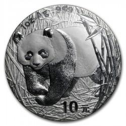 CHINA 10 YUAN 2002 OSO PANDA y PAGODA MONEDA DE PLATA SC 1 OZ ONZA OUNCE TROY Silver coin
