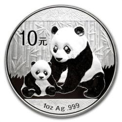 CHINA 10 YUAN 2012 OSO PANDA y PAGODA MONEDA DE PLATA SC 1 OZ ONZA OUNCE TROY Silver coin