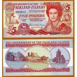 FALKLAND 5 LIBRAS 2005 ISABEL II y PINGUINOS Pick 17 BILLETE SC @RARO@ Islas Malvinas 5 Pounds UNC