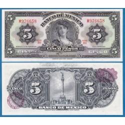 MEXICO 5 PESOS 1970 DAMA y ESTATUA Pick 60K BILLETE SC Mejico UNC BANKNOTE American Bank Note Company