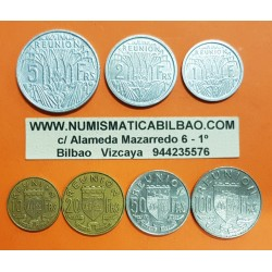 7 monedas x REUNION 1+2+5+10+20+50+100 FRANCOS 1955/1970 DAMA y BARCOS KM.1 al KM.7 ALUMINIO LATON NICKEL France Colony