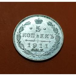 RUSIA 5 KOPECKS 1911 CHB AGUILA Época ZAR NICOLAS II KM.19A1 MONEDA DE PLATA SC- Russia 5 Kopeks silver