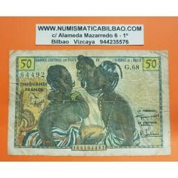 AFRICA DEL OESTE FRANCESA 50 FRANCOS 1956 NATIVOS Pick 45 BILLETE CIRCULADO @RARO@ French West African States PVP NUEVO 180€