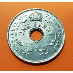 @KING EDWARD VIII@ AFRICA DEL OESTE 1 PENIQUE 1936 KH ESTRELLA DE 6 PUNTAS KM.16 MONEDA DE NICKEL SC British West Africa