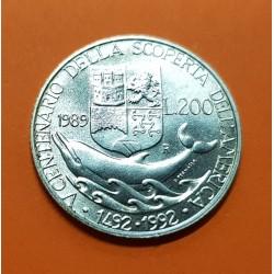 ITALIA 200 LIRAS 1989 DELFIN y CRISTOBAL COLON KM.138 MONEDA DE PLATA SC Italy 200 Lire silver