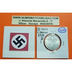 ALEMANIA 2 MARCOS 1939 D AGUILA y ESVASTICA NAZI III REICH KM.93 MONEDA DE PLATA @LUJO@ Germany 2 Reichsmark Ref.1