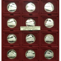 12 monedas x MARSHALL ISLANDS 50 DOLARES 1996 WORLD'S LEDENDARY STEAM LOCOMOTIVE TRENES PLATA PROOF 1 ONZA OZ $50 SILVER DOLLARS