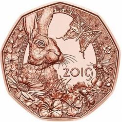AUSTRIA 5 EUROS 2019 Moneda 2ª CONEJO DE PASCUA y MARIPOSA COBRE SC Osterreich 5 Euro Coin