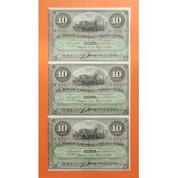 3 billetes sin cortar ESPAÑA 10 PESOS 1896 PLATACION DE TABACO Pick 49 SC BANCO ESPAÑOL DE LA ISLA