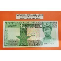 GHANA 20 CEDIS 1982 MINERO y HOMBRE EN TELAR Pick 21C BILLETE MBC+ Africa BANKNOTE PVP NUEVO 27€