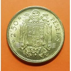 ESPAÑA 2,50 PESETAS 1953 * 19 56 FRANCISCO FRANCO KM.785 MONEDA DE LATON EBC ESTADO ESPAÑOL 3