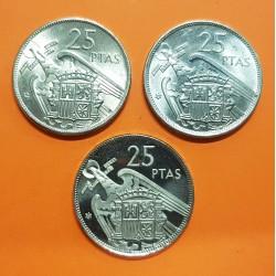 3 monedas x ESPAÑA 25 PESETAS 1957 * 64 SC- + 25 PESETAS 1957 * 70 SC + 25 PESETAS 1957 * 75 PROOF ESTADO ESPAÑOL NICKEL