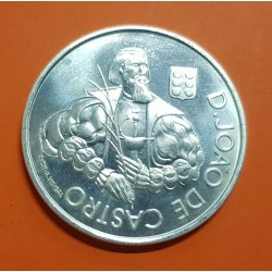 PORTUGAL 1000 ESCUDOS 2000 JOAO DE CASTRO CON ARMADURA MEDIEVAL KM.732 MONEDA DE PLATA SC Silver