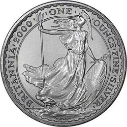 INGLATERRA 2 LIBRAS 2000 BRITANNIA MONEDA DE PLATA SC UNITED KINGDOM SILVER £2 POUNDS 1 ONZA OZ OUNCE