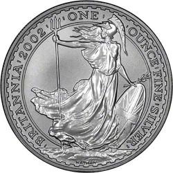 INGLATERRA 2 LIBRAS 2002 BRITANNIA MONEDA DE PLATA SC UNITED KINGDOM SILVER £2 POUNDS 1 ONZA OZ OUNCE