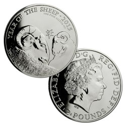 INGLATERRA 2 LIBRAS 2015 AÑO LUNAR DE LA CABRA MONEDA DE PLATA SC 2 Pounds Silver 1 ONZA OZ OUNCE Year of the Sheep