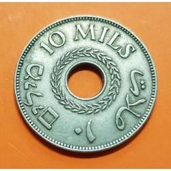 PALESTINA 10 MILS 1927 PALESTINE y VALOR KM.4 MONEDA DE NICKEL MBC+ @ESCASA@ Bajo dominio de Inglaterra