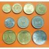 ISRAEL @TIRA DE 10 MONEDAS@ 5+10+25 + 1/2 + 1 AGOROT / LIRAH / SHEQEL / NEW SHEKEL 1965 a 1986 NICKEL y LATON EBC/SC coin set