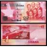 GHANA 1 CEDI 2015 PRESA HIDROELECTRICA y PRESIDENTES Pick 37F BILLETE SC Africa UNC BANKNOTE