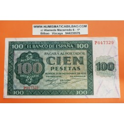 ESPAÑA 100 PESETAS 1936 CATEDRAL DE BURGOS Serie P 847329 Pick 101 BILLETE EBC @ROTURA de 2mm@ Spain banknote