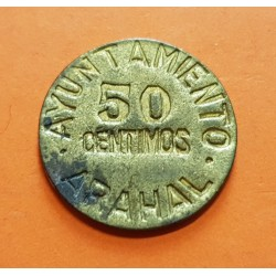 AYUNTAMIENTO DE ARAHAL 50 CENTIMOS 1937 VALOR KM.1 LATON @MUY RARA@ ESPAÑA (Sevilla) MONEDA LOCAL GUERRA CIVIL