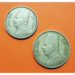 2 monedas x EGIPTO 5 MILLIEMES 1935 KM.346 + EGIPTO 10 MILLIEMES 1929 REY FUAD KM.347 NICKEL MBC+ Egypt