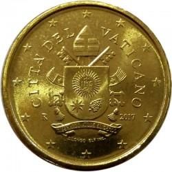 1 moneda x VATICANO 50 CENTIMOS 2018 ESCUDO DEL PAPA FRANCISCO MONEDA DE LATON SC @Emitida este año 2019@