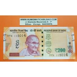INDIA 200 RUPIAS 2017 MAHATMA GANDHI y FUERTE ROJO Pick 113A BILLETE EBC 200 Rupees PVP NUEVO 9€