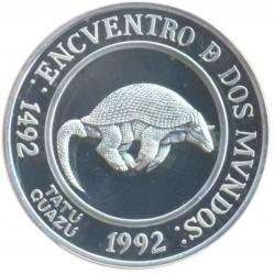ARGENTINA 25 PESOS 1994 II SERIE IBEROAMERICANA 2ª ANIMALES EN EXTINCION ARMADILLO TATU GUAZU PLATA PROOF