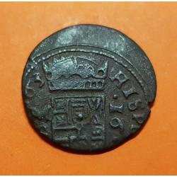 @ERROR@ ESPAÑA Rey FELIPE IIII 16 MARAVEDIES 1663 Ceca de MADRID MONEDA DE COBRE @ACUÑACION DESPLAZADA@ 16 Maravedis Felipe IV