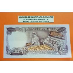 MARRUECOS 10 DIRHAMS 1970 REY HASSAN II y VENDEDORA DE FRUTAS Pick 57A BILLETE EBC @DOBLEZ@ Morocco banknote Ref/1